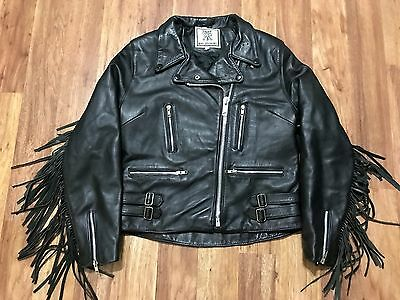 Womens Vtg 80s Motorcycle Biker Rocker Thin Quilted Fringed Leather Jacket 10