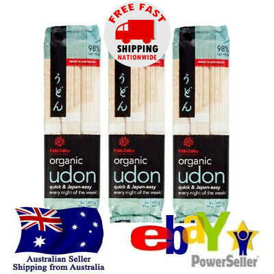 3x Hakubaku Organic Authentic Japanese Udon Noodle 270g Halal Kosher No Salt