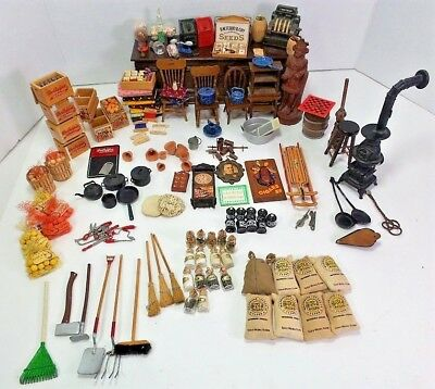 Miniature Accessories American Country Store Collectible Franklin Mint Large Lot