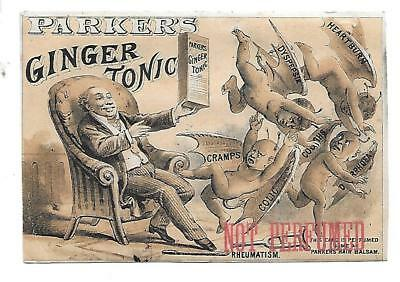 Demons On Parker's Ginger Tonic Victorian Trade Card Not Perfumed