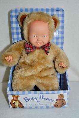 Anne Geddes Baby Bears Light Brown Blue Eyes Red Plaid Bow Tie NEW