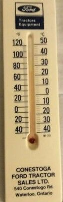 Vtg FORD TRACTORS Farm Equip. Advertising Waterloo Ontario Thermometer Sign