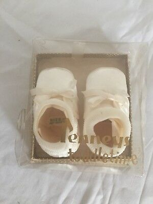 Baby Booties Jcpenny Original Packaging Vintage White