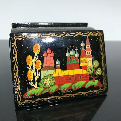 Vintage RUSSIAN USSR Painted Black Lacquer Miniature Trinket Box