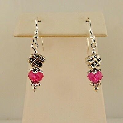 Irish Silver Celtic Knot Earring with Pink Crystal beads