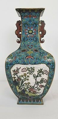 Exceptional Chinese Cloisonne Vase With Poems 18th Century Qianlong Mark