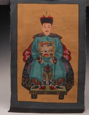 VALUABLE Rare Chinese cloth painting decoration 100% hand-painted emperor
