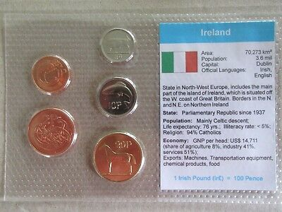 Ireland......5 Uncirculated Coins......in Plastic Cover