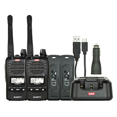GME TX677 2 Watts UHF Handheld Radio - Twin Pack with GEN GME WARR