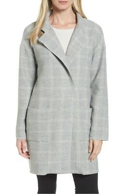 ae7c0ab303d NEW EILEEN FISHER Check Tweed Coat in Gray - Size XS -  135.99 ...