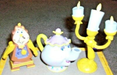 Set of 3 Items From Cartoon Beauty and the Beast Mrs. Potts Chip Tea Pot + More