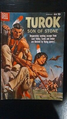 1960 Dell Comics Turok #19 Son of Stone Indian boy Warriors Fighting Cave Men