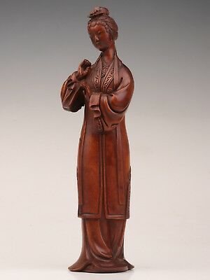 Qing dynasty China rare boxwood statue old hand-carved belle women retro opera