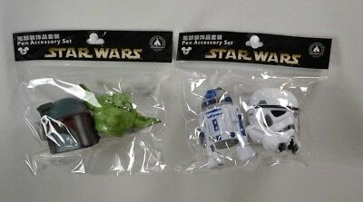 STAR WARS Disney pen pencil antenna topper Yoda Bobba Fett R2D2 Stormtrooper Set