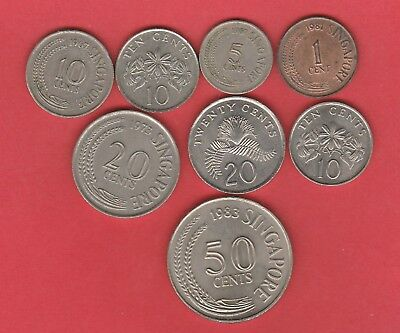 Singapore Coins X 7 , 1 ,5 , 10 20 & 50 Cents Circulated