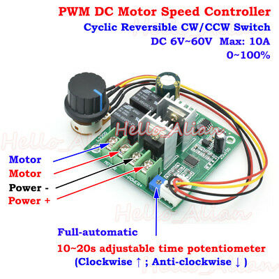 DC 6V-60V 12V 10A PWM Motor Speed Controller Auto Cycle CW CCW Revesible Switch