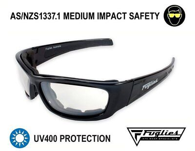 Fuglies PC19 Clear Safety Glasses - AS/NZS1337.1 Foam Backed