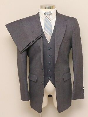 Vintage Mens 40L JcPenney Classic Style 3 Piece Grey/Blue/Red Suit