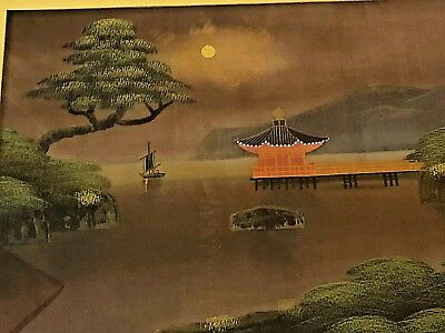 Vintage Chinese Painting on Silk Framed with Glass