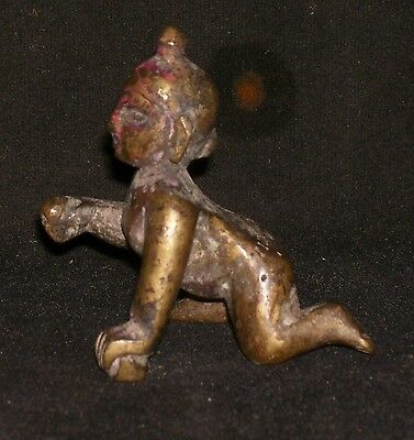 Antique Traditional Indian Ritual Bronze God Baby  Krishna Crawling Rare #1