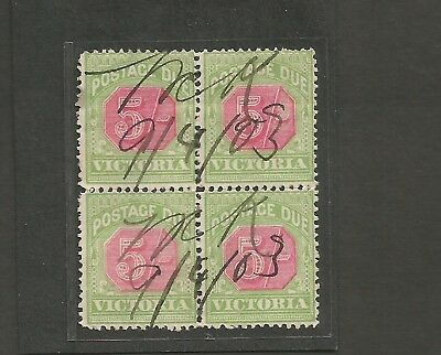 PD35,   AUSTRALIAN POSTAGE DUES/ VICTORIA 5/- block of 4 used with inverted Wmk