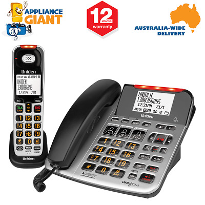 UNIDEN SSE47+1 Visual & Hearing Impaired Cordless and Corded Phone System - Silv