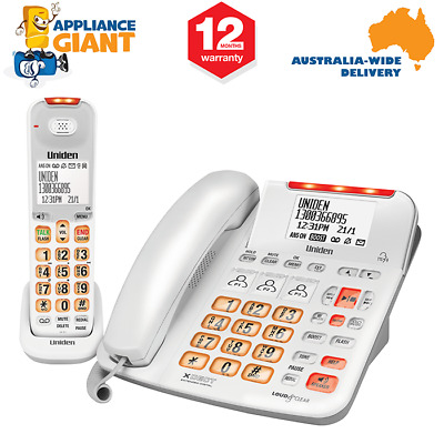 UNIDEN SSE47+1W Visual & Hearing Impaired Cordless and Corded Phone System - Whi
