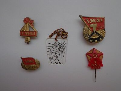 German.1.mai,labor Day.four Badges & Stick Pin -:- Genuine.used.