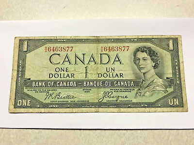 1954 Canada 1 Dollar Devil in Hair Note Circ. #8139