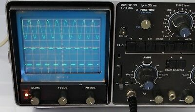 Philips PM3233 classic Oscilloscope Dual Channel Analogue 10MHz working