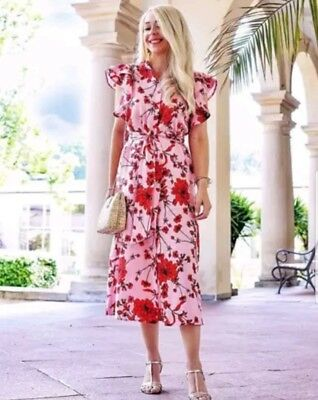 Zara Pink Floral Print Linen Tunic DressSize M BNWT Bloggers Favorite Sold Out