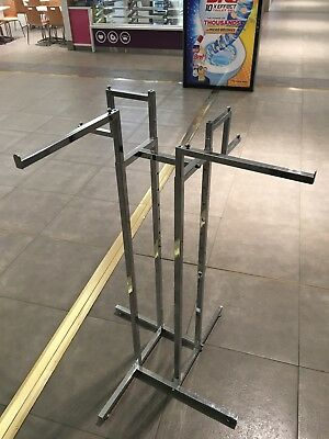 As New 4 Way Rack Display Metal Steel Shop Fitting Commercial Clothing Chrome