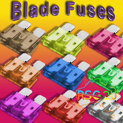 Blade Fuses 10 X  7.5 Amp To 40 Amp Standard Size And Inline Holders Free Post