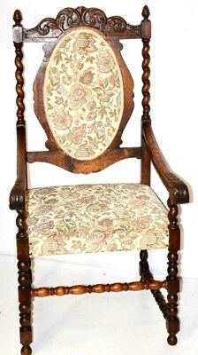 Antique Carved Oak Barley Twist Carver Chair - FREE Shipping [PL3009A]