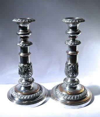 Pair of Antique Old Sheffield Plate Candlesticks