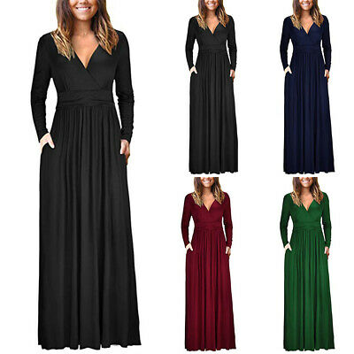 UK Womens Wrap V-neck Long Sleeve Jersey Maxi Dress Ladies Casual Party Cocktail