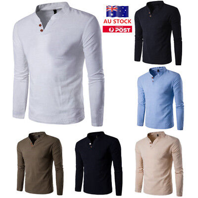 AU Men's Slim Long Sleeve V Neck Button Collar Casual Polo Shirt Basic Tops Tee
