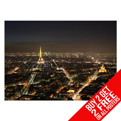 Eifel Tower Paris At Night Poster Art Print A4 A3 Size - Buy 2 Get Any 2 Free