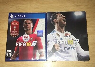 Sealed FIFA 18 with World Cup Update and Ronaldo Steelbook for PlayStation 4