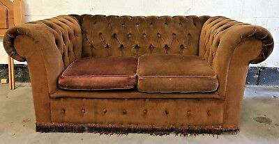 Vintage Chesterfield Two Seater Sofa Settee Couch Brown Fabric Velour