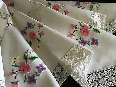 Stunning Vintage Large Irish Linen Embroidered Tablecloth ~ Florals/lace