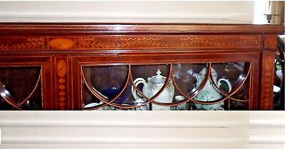 Antique Bookcase Cabinet - Bell Flower String Inlay