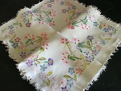 Lovely Vintage Linen Hand Embroidered Tablecloth ~ Fringed Edge ~ Pretty Florals