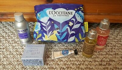 Brand New L'occitane En Provence 5 Piece Bath & Shower Set In Toiletry Bag