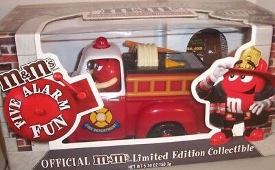 M&M Red's Firehouse Fire Truck Candy Dispenser Limited Edition NIB
