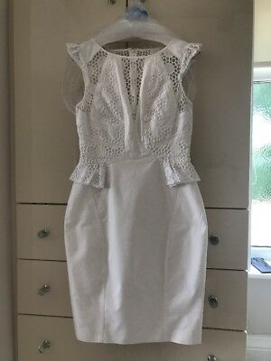 Karen Millen Fitted Dress White Broderie Dress 10 Exc Cond Dry Cleaned