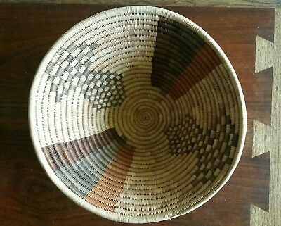 """Large 11"""" Vintage Botswana Basket Coiled Palm Earth Tones Brown Gold Grey Africa"""