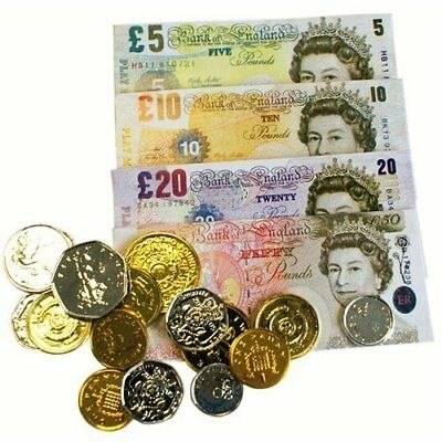 Children's Kids Play Fake Pretend Money Role Shops Cash £ Pound Notes Coins Toy
