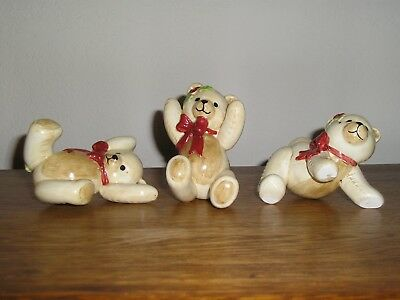 Fitz And Floyd Tumbling Bears Figurines Christmas Set Of 3 Collectibles