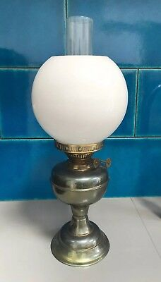 Antique Brass Oil Lamp with Glass Shade